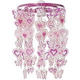 MiniSun – Moderner, rosa und weißer Lampenschirm mit Herz- und Schmetterlingmotiv – für Hänge- und Pendelleuchte