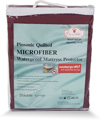 Signature Micro 120 TC Waterproof and Dust Proof Double Bed Mattress Protector (72X78-inch, Maroon) Image 3