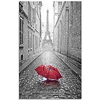 Romántico París Torre Eiffel Paraguas rojo Impresiones en lienzo Streetscape Impresiones en lienzo Decoraciones de pared Obras de arte para la sala de estar Sin marco (70_x_100_cm, MS001)
