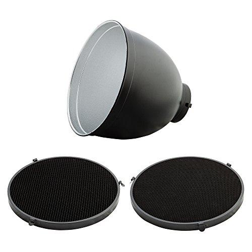 PhotoSEL FRH65BH Tele-Reflektor (2 Wabenrastern Set, 65 Grad, 25,5 cm Durchmesser, Halterung Bowens Typ S) Bowens Set