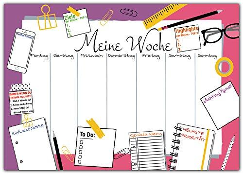 ischunterlage zum Abreißen aus Papier - DIN A3 Schreibunterlage mit Wochenplaner, Tages-Plan, To-Do, Einkaufs-Liste - 25 Blatt Abreißblock für Kinder und Erwachsene in Pink-Lila ()