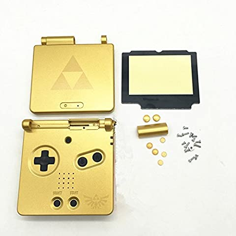 Haodasi Replacement Gold Limited Housing Shell Case Cover Faceplate Caja Cubierta Carcasa+Plastic Screen Lens for Nintendo Gameboy Advance SP GBA SP
