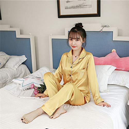 XMDNYE Schlaf Lounge Frauen Pyjamas Sets Mit Hosen Satin Langarm Nachtwäsche Stickerei Seide Pijama Pyjama (Satin-lounge-hose)