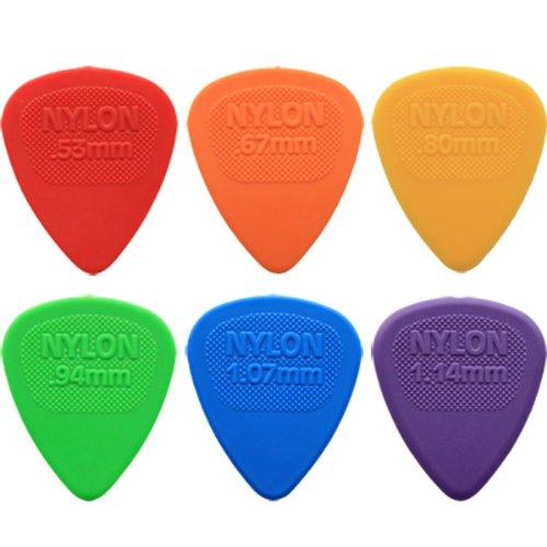 24 x Dunlop Nylon selecciones de la guitarra de Midi/de púas de - 4 del tamaño de la mano de cada uno de ellos en una selección de lata