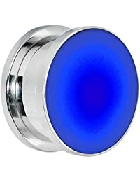 18mm Stainless Steel Blue LED Light Up Screw Fit Plug (1 Piece)