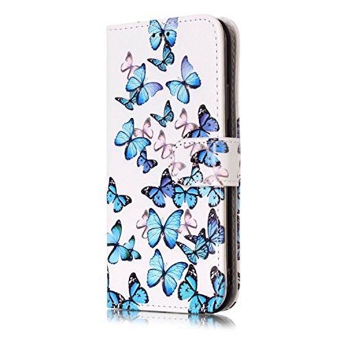 inShang Custodia per iPhone X 5.8 inch con design integrato Portafoglio, iPhoneX 5.8inch case cover con funzione di supporto. blue butterfly