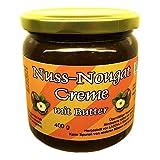Butter Nuss-Nougat-Creme 400 g (43,7% Haselnüsse), mit Xylit aus Finnland gesüßt, ohne Palmfett, ohne Zuckerzusatz