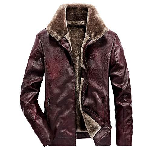 Your global store Cuero para Hombre Abrigo de Moto de Moda Chaqueta de Cuero PU Solapa para Hombre Jacket Chaqueta Softshell, Hombre, Poliéster