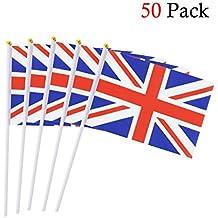 Reino Unido Banderas de Mano,50 PCS,14 x 21CM/5.5 x 8.3 pulgadas Mini Banderas Pequeñas de Gran Bretaña/Unión Jack/Inglés/Inglaterra