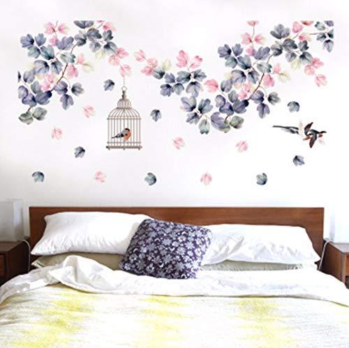 Vandelkt Blumen Vine Birds Käfig Flying Birds L Aufkleber Wohnzimmer Schlafzimmer L Poster Kunst Home Decor L Abziehbilder L Grafik (Flying Käfig)