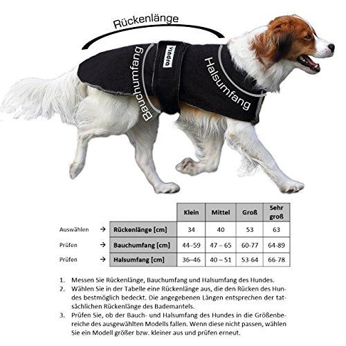 VINDRA Hunde-Bademantel – Fleece schnelltrocknend – Hundemantel – 3 Größen – Hals und Brust verstellbar - 3