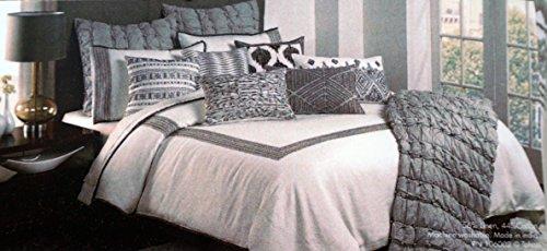 Tahari Betten 3Stück Full/Queen Size Luxus Leinen/Baumwolle-Mischung Bettbezug Set Bestickt Silber Grau Geometrische Grenze Streifenmuster auf Massivem Weiß - Queen-size-standard-tröster