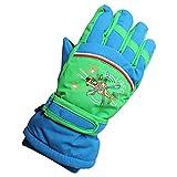 Eastlion 4-10 Jahre alte Schmetterling / Auto / Flugzeug Muster Kinder Skifahren Handschuhe Karikatur Draussen Warme Handschuhe,Stil 3,Blau,M