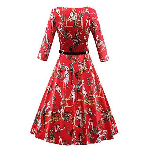 LUOUSE Femme Manteau Robe Rétro Vintage Années 50 's Style Audrey Hepburn Classique Coton Plusieurs couleurs V116-Rouge