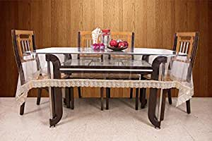 Kuber IndustriesTM.20mm Dining Table Cover Transparent 6 Seater 60x90 Inches (Golden Lace) VAR15