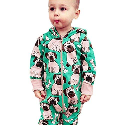 Monos Beb¨¦,JiaMeng Reci¨¦n Nacido Infantil Beb¨¦ Ni?o Mamelucos con Estampado de Perro Mono Trajes con Capucha Ropa(Verde,12M)