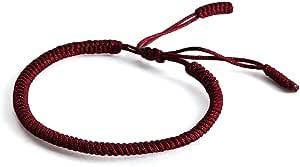 Lucky Buddhist – Braccialetto Buddista Tibetano + Ciondolo/Collana! Bracciale per donna, uomo, adolescente – Regola le dimensioni del braccialetto – Realizzato a Mano In Corda (Rosso Scuro)