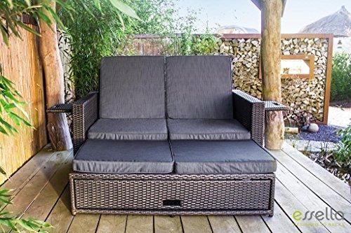 essella Polyrattan Garnitur Milano in Grau (Couch Loveseat Liege)