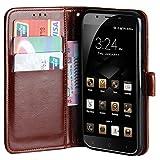 Raiphy Leder Brieftasche Hülle für Blackview P2 Lite,Telefon schützender lederner Fall mit Einem Einbauschlitz und Standfunktion (Braun)