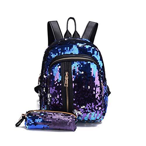 JAGENIE Mädchen Frauen Bling Glitter Rucksack mit Federbeutel Schulrucksack Set Pailletten Rucksack