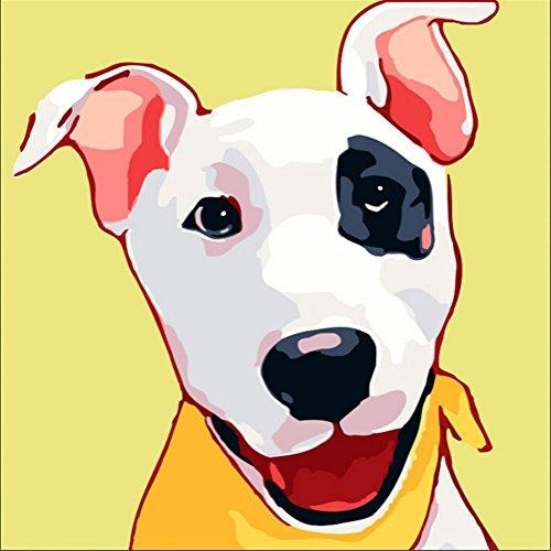 len nach Zahlen Kits - Blume Gesicht Hund 10x10 Zoll Mit Rahmen - Diy Malerei nach Zahlen für Kinder (Gesicht Malen Kit)