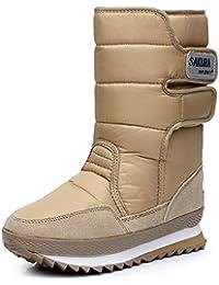 AARDIMI Neue Winter Schuhe Frau Stiefel Mode Frauen Stiefeletten Warme Samt Schneeschuhe Flache Ferse Stiefel (41, Braun)