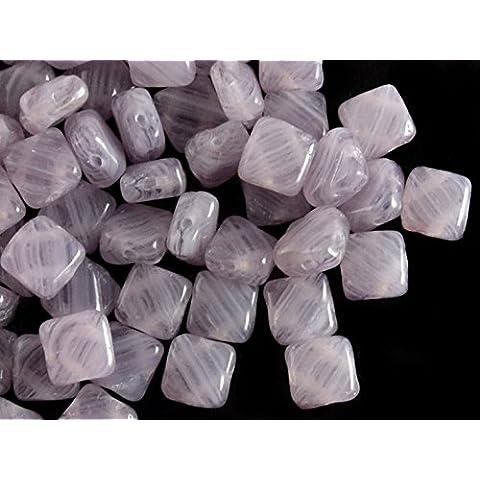 30pcs Silky Beads - Czech perle di vetro schiacciate, piazza 6x6mm con due fori in diagonale, Violet with White Strips