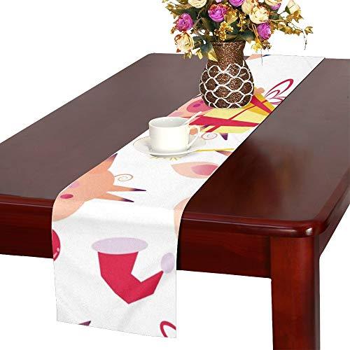 JOCHUAN Happy Christmas Pigs lustige Tischläufer, Küche Esstischläufer 16 X 72 Zoll für Dinner Parties, Events, Dekor (Teen Pig Kostüm)