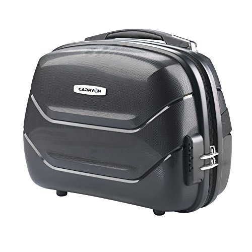 Schminkkoffer-Beautycase-Kosmetikkoffer-Koffer Box-Tasche-Schwarz-Carbon Optik-33x29x17cm-Bowatex