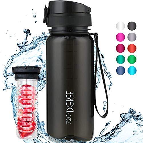 """720°DGREE Trinkflasche \""""uberBottle\"""" crystalClear - 650 ml, 0,65 l, Schwarz - Neuartige, Durchsichtige Tritan Wasser-Flasche Water Bottle - Ideal für Kinder, Fitness, Fitnessstudio, Fahrrad, Fussball"""
