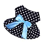 #4: Segolike Lovely Puppy Skirt Princess Dress Bowtie Party Clothes for Small Pet Dog 5-Size - black, XS