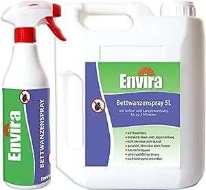 Envira Bettwanzen-Spray I Anti-Bettwanzen-Mittel Mit Langzeitwirkung I Geruchlos & Auf Wasserbasis I 500 ml & 5 Liter
