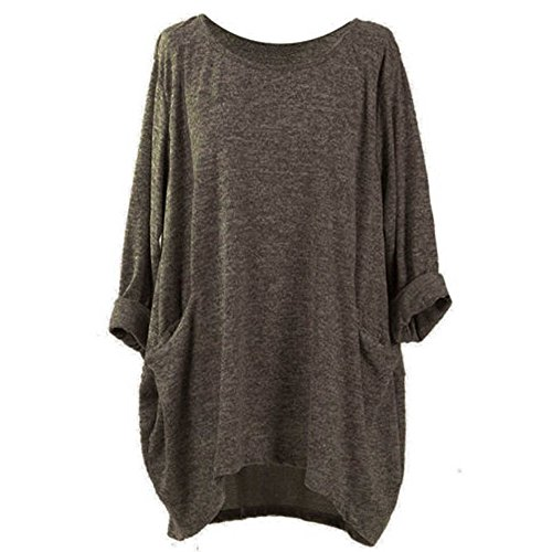 T-Shirt Femmes Chemisier Chauve-Souris à Manches Longues Lâche Été, QinMM Grande Taille Tops Mode Blouse Gilet Occasionnel Haut Section Mince Casual Gilet Dames Col Rond Chic S - XXXXXL