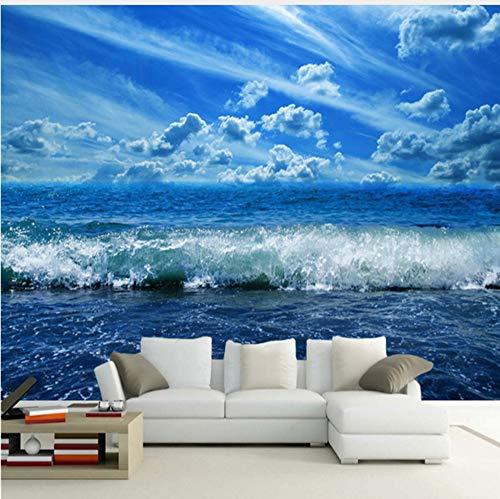 VVNASD 3D Wandbilder Wand Aufkleber Dekorationen Tapete Blauer Himmel Seewellen Natur Landschafts Platten Wohnzimmer Schlafzimmer Kunst Mädchen Schlafzimmer (W) 140X(H) 100Cm