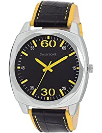 Swisstone GR031-BLK-YLW Black Dial Black-Yellow Leather Strap Analog Wrist Watch For Men/Boys