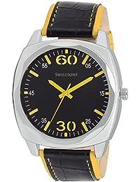 Swisstone GR031-BLK-YLW Black Dial Black-Yellow Leather Strap Analog Wrist Watch For Men/Boys
