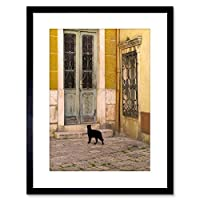 Wee Blue Coo Photo Black Cat Contrast Yellow Brick Old Door Framed Wall Art Print