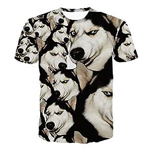 ZzSTX Lustige Husky T-Shirt 3D Tier Niedlich T Shirts Frauen Männer Tops T Shirt Sommer Outfit Tees