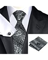 Mens Formal Paisley Striped Check Floral 100% Silk Woven Neck Tie, Pocket Square Hanky Cufflink Set