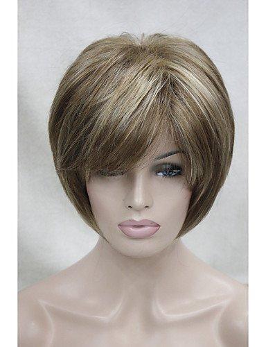Simple and convenient Perücken europäisches Haar neue hellbraun mit blonden Highlight drei kurzen geraden Frauen synthetische Perücke -