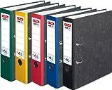 HERLITZ Ordner maX.file nature A4 8cm ge Wolkenmarmorbezug selbstklebendes Rückenschild | 5er Sparpack in diversen Farben zur Auswahl (Sortiert Grundfarben)