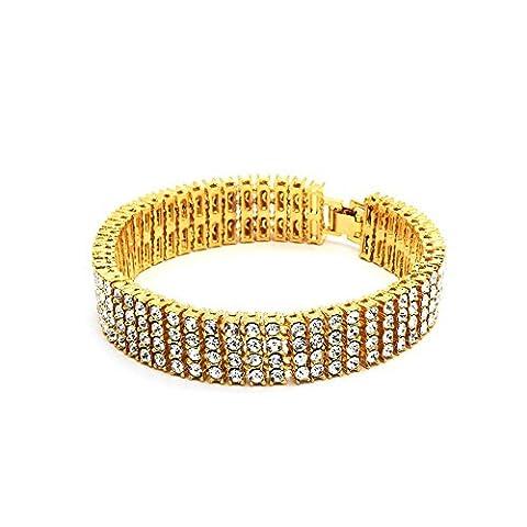 Bling King Bracelet large pour homme plaqué or 14carats 4rangées de strass Style hip hop