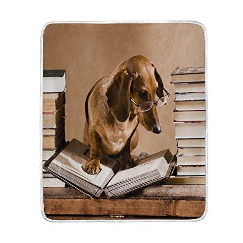 Use7 Home Decor Vintage Dackel Welpe Hund Buch Bibliotheksdecke Weiche warme Decke für Bett Couch Sofa Leichtes Reisen Camping 127 cm x 152,4 cm Überwurfgröße für Kinder Jungen Damen -