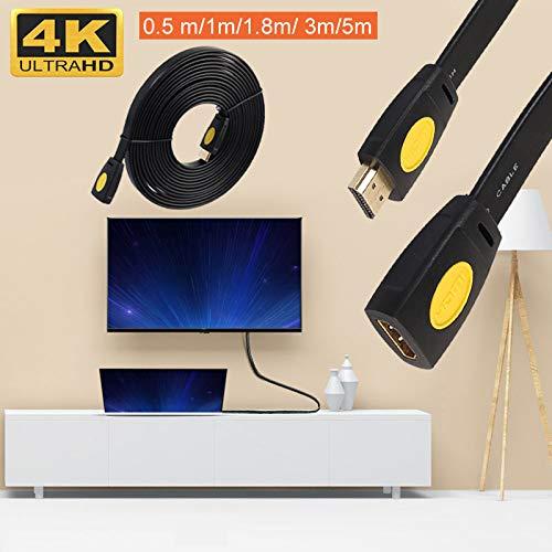 Hongfei Câble HDMI 2.0 Câble d'extension HDMI mâle vers Femelle Prend en Charge l'extendeur HDMI 3D 4K 1080P pour Stick TV, Chromecast, Nintendo Switch, Xbox 360, PS4