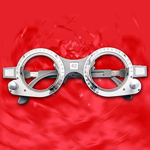 Gugutogo Einstellbare optische Testlinse Rahmen Auge Optometrie Rahmen Optiker 52-70mm PD (Farbe: silber & grau) (Größe: 62mm)