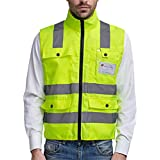 Panegy - Gilet de sécurité haute visibilité-Veste Col Officier Réfléchissante-bandes avec Poches pour Chantier/Construction/Travail à l'extérieur - jaune - Taille M