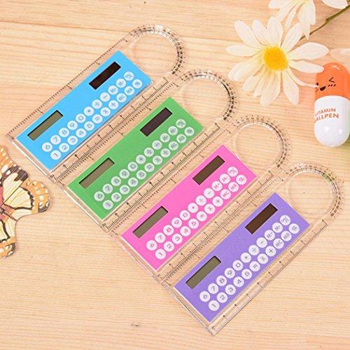 YUYOUG yoyoug 1Mini Solar Taschenrechner Fashion Multifunktions 10cm Lineal Pfiffiges Geschenk für Studenten Kinder Büro zufällige Farbe