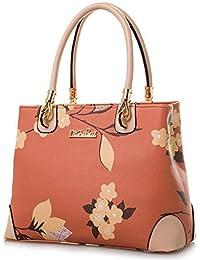Micom Womens Vintage Shoulder Bag All-over Flowers Pu Leather Tote Purse Cross Body Handbag
