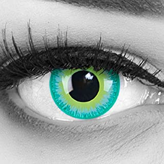 Farbige grüne Crazy Fun Kontaktlinsen Green Elf mit gratis Linsenbehälter + 60ml Pflegemittel Topqualität zu Karneval und Halloween