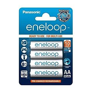 Panasonic eneloop, Ready-to-Use Ni-MH Akku, AA Mignon, 4er Pack, min. 1900 mAh, 2100 Ladezyklen, starke Leistung und geringe Selbstentladung, wiederaufladbare Akku Batterie, Akkubatterie
